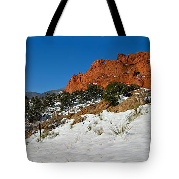 Tote Bag featuring the photograph Colorado Winter Red Rock Garden by Adam Jewell