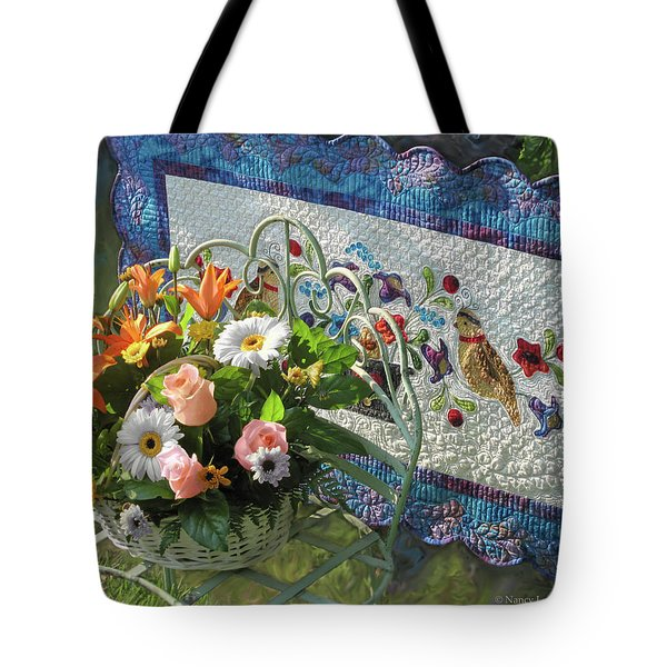 Tote Bag featuring the mixed media Colordance With Quail Quilt by Nancy Lee Moran