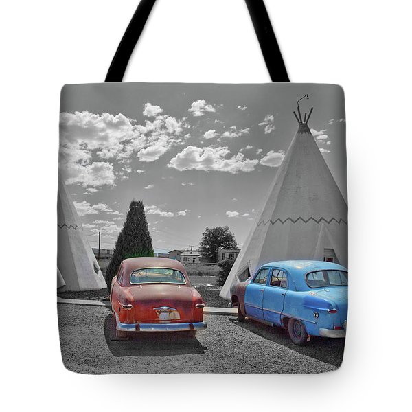 Colored Cars And Tee Pee Motel--holbrook Tote Bag