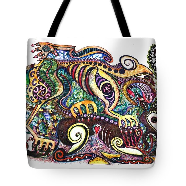 Colored Cultural Zoo D Version 2 Tote Bag by Melinda Dare Benfield