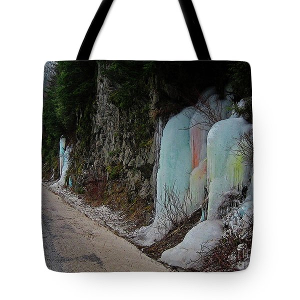 Colored Frozen Waterfalls Along The Skeena  Tote Bag