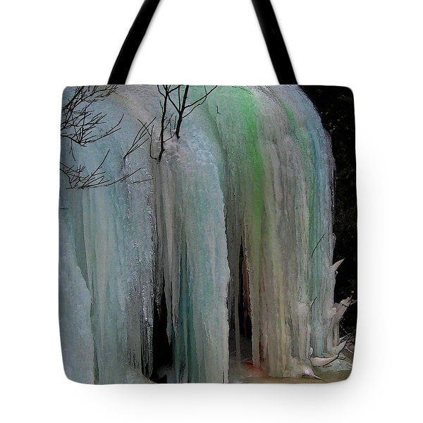 Colored Frozen Waterfalls Alont The Skeena  Tote Bag