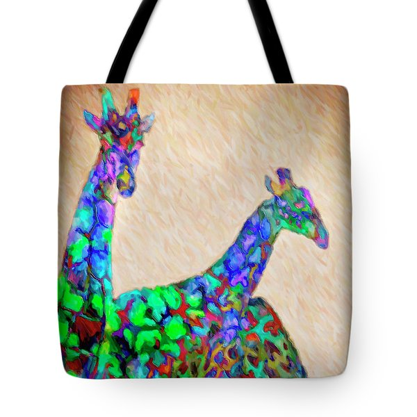 Colored Giraffes Tote Bag by David Millenheft