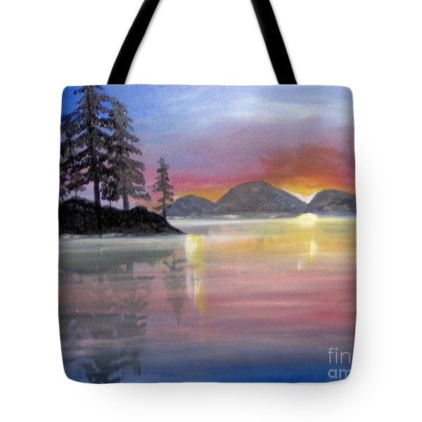 Tote Bag featuring the painting Colored Lake by Saundra Johnson