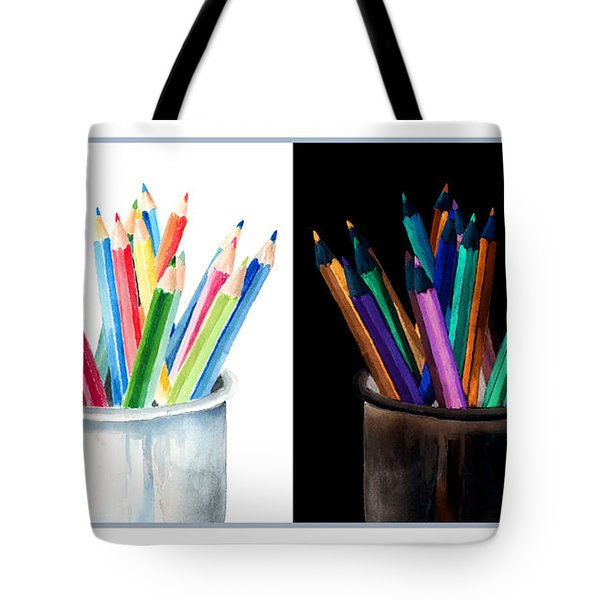 Colored Pencils - The Positive And The Negative Tote Bag by Arline Wagner