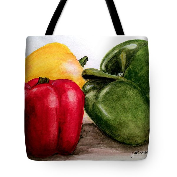 Colored Peppers Tote Bag