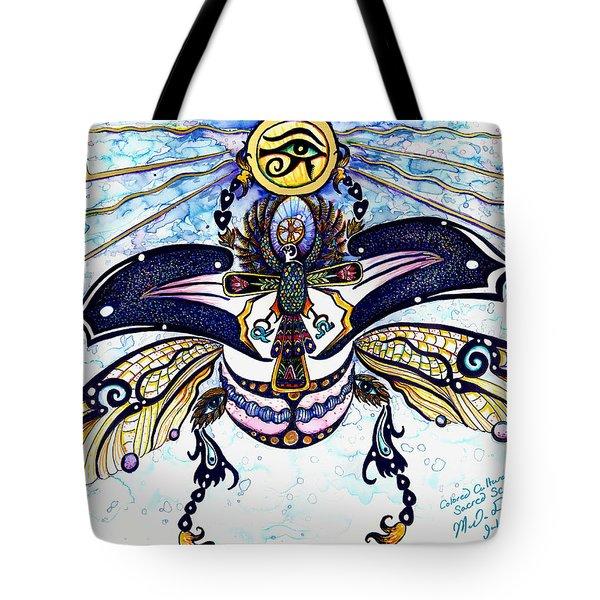 Colored Sacred Scarab In Digital Gold Tote Bag