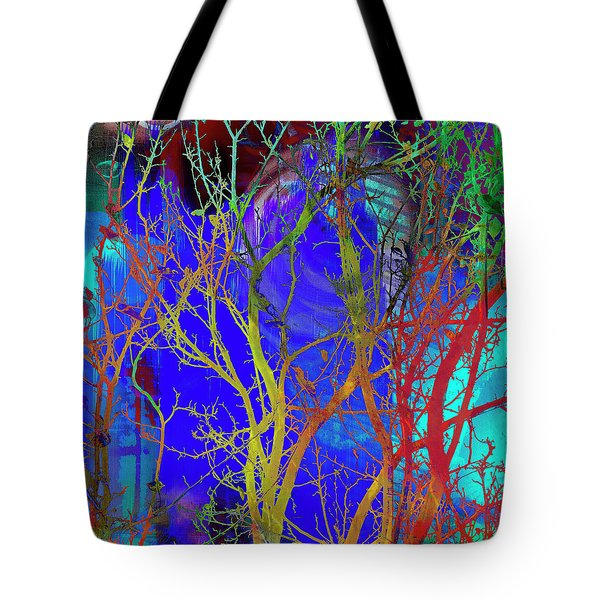 Tote Bag featuring the photograph Colored Tree Branches by Susan Stone