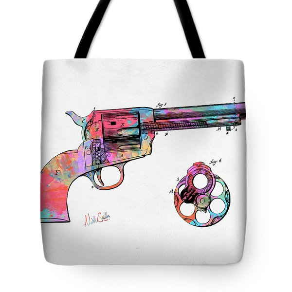 Colorful 1875 Colt Peacemaker Revolver Patent Minimal Tote Bag