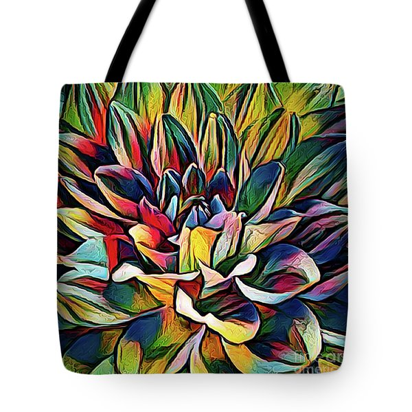 Colorful Abstract Dahlia Tote Bag