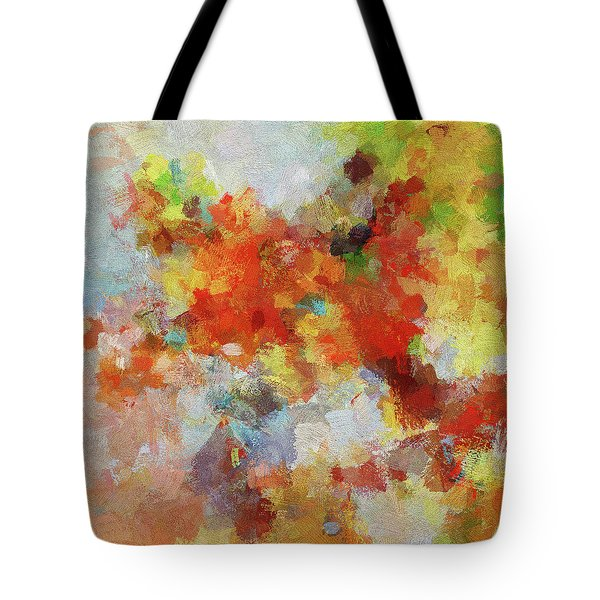 Tote Bag featuring the painting Colorful Abstract Landscape Painting by Ayse Deniz