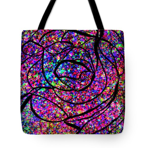 Tote Bag featuring the digital art Colorful Abstract Rose  by Cristina Stefan
