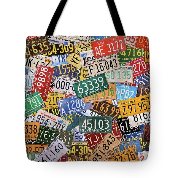 Colorful Assorted Vintage License Plates From All 50 States Tote Bag