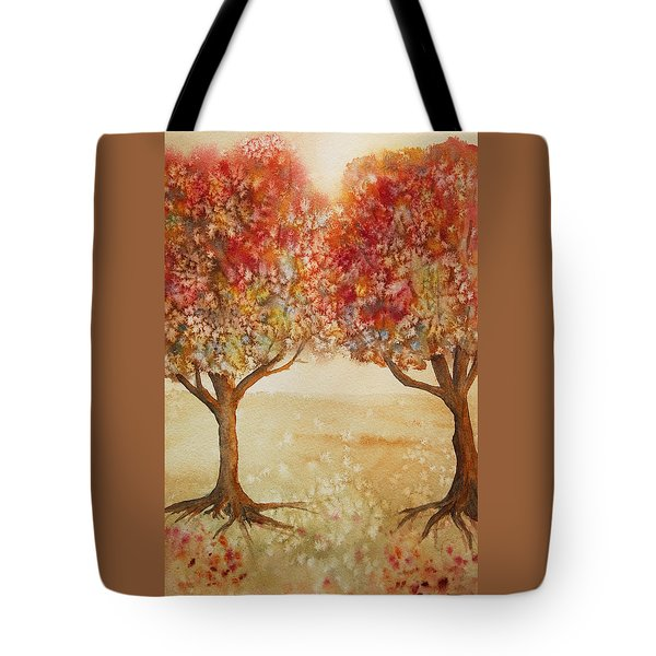 Tote Bag featuring the painting Colorful Autumn Twin Trees by Kerri Ligatich