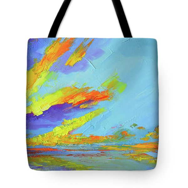Tote Bag featuring the painting Colorful Beach Sunset Oil Painting  by Patricia Awapara