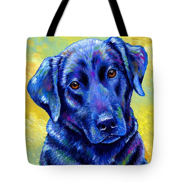 Colorful Black Labrador Retriever Dog Tote Bag