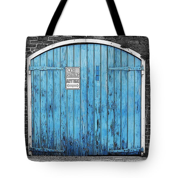Colorful Blue Garage Door French Quarter New Orleans Color Splash Black And White And Poster Edges Tote Bag by Shawn O'Brien
