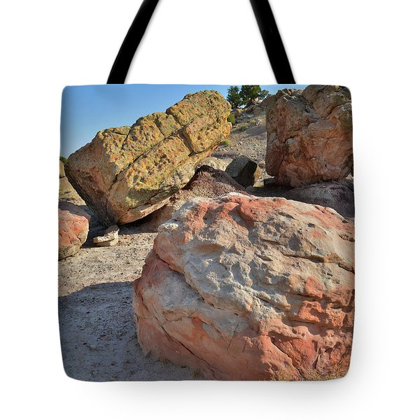Colorful Boulders In The Bentonite Site On Little Park Road Tote Bag