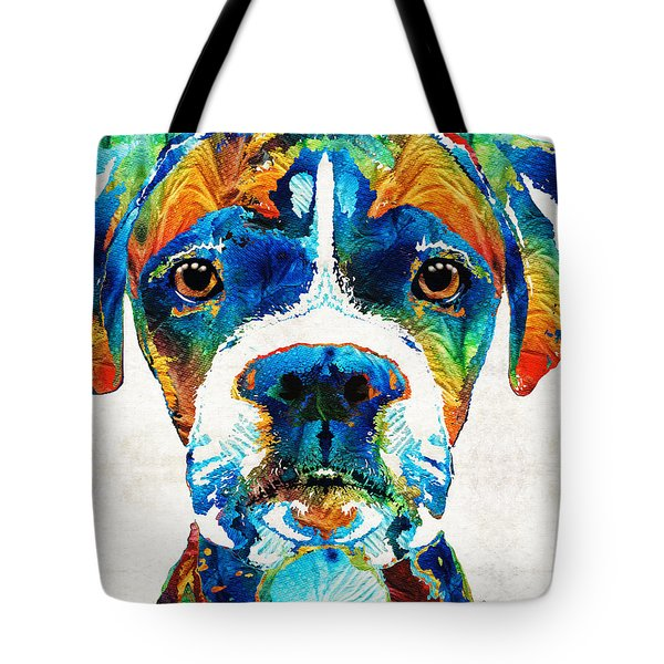 Tote Bag featuring the painting Colorful Boxer Dog Art By Sharon Cummings  by Sharon Cummings