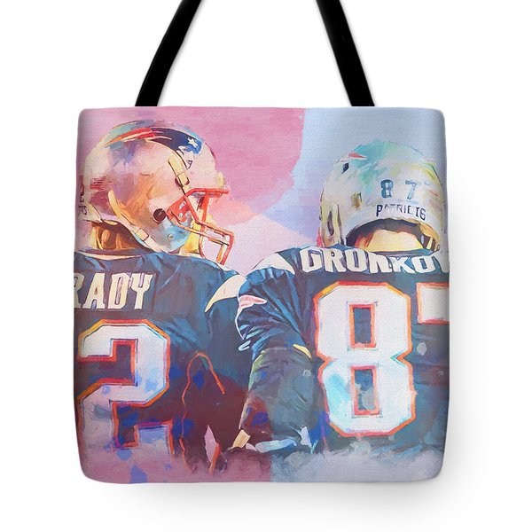 Tote Bag featuring the painting Colorful Brady And Gronkowski by Dan Sproul