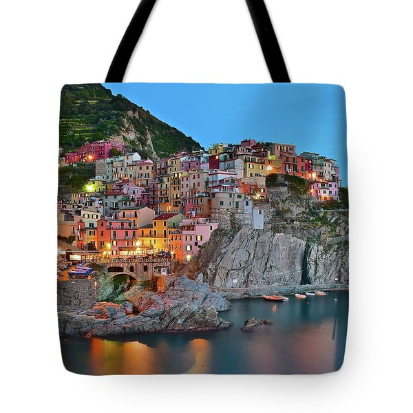 Tote Bag featuring the photograph Colorful Buildings Colorful Lights by Frozen in Time Fine Art Photography