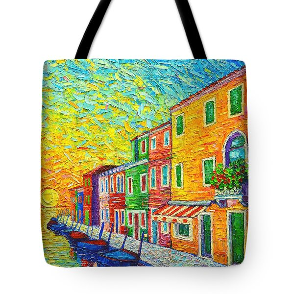 Colorful Burano Sunrise - Venice - Italy - Palette Knife Oil Painting By Ana Maria Edulescu Tote Bag by Ana Maria Edulescu