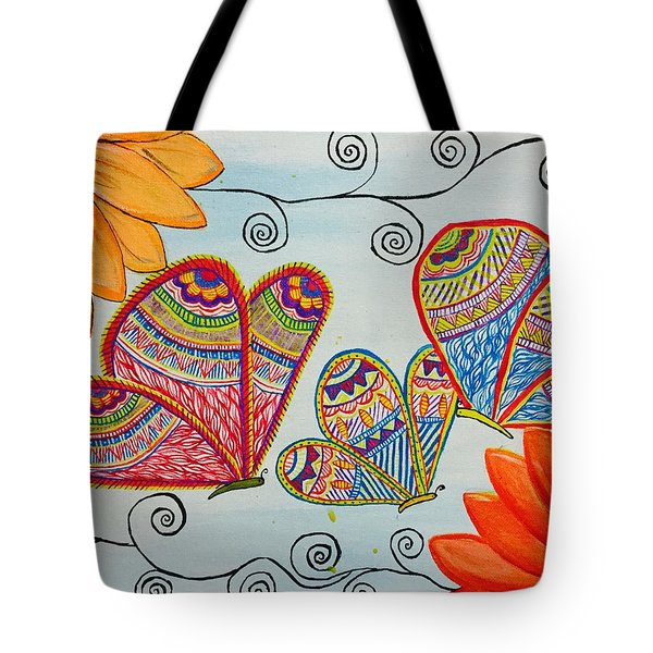 Colorful Butterfly In Madhubani Art Tote Bag