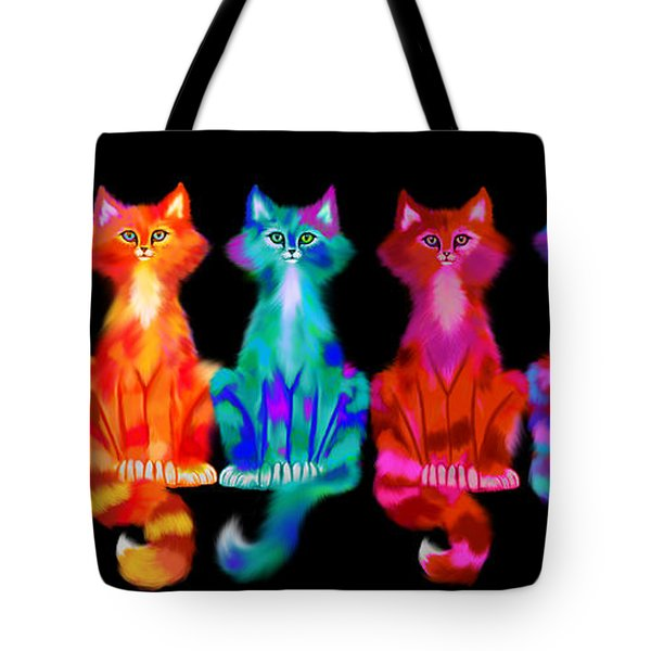 Colorful Calico Cats Tote Bag