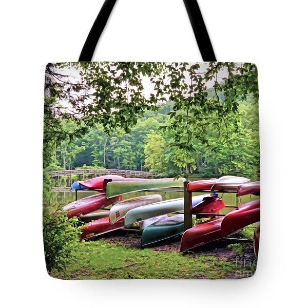 Colorful Canoes At Hungry Mother State Park Tote Bag