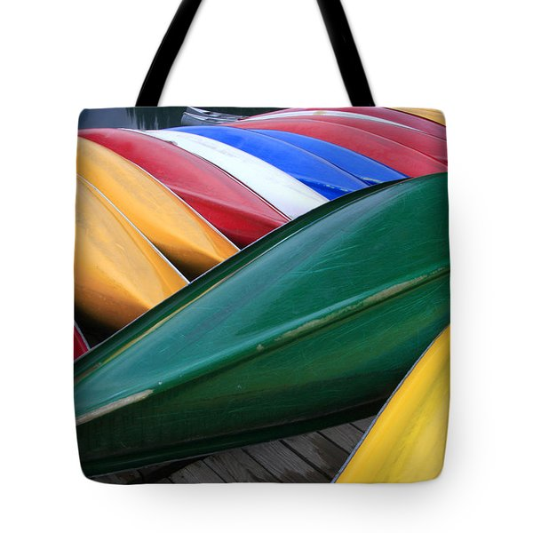 Colorful Canoes Tote Bag by Catherine Alfidi