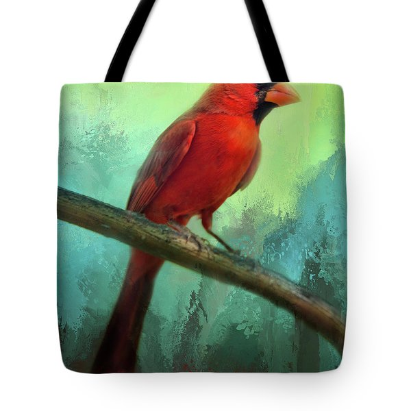 Tote Bag featuring the photograph Colorful Cardinal by Barbara Manis