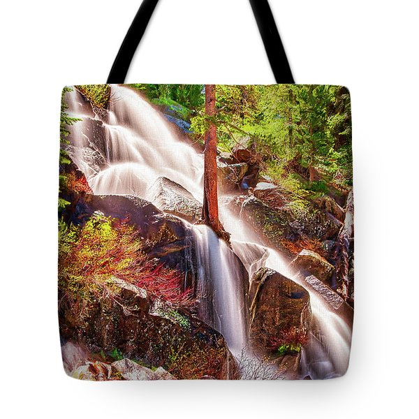 Colorful Cascade Waterfall On Tioga Pass Ap Tote Bag