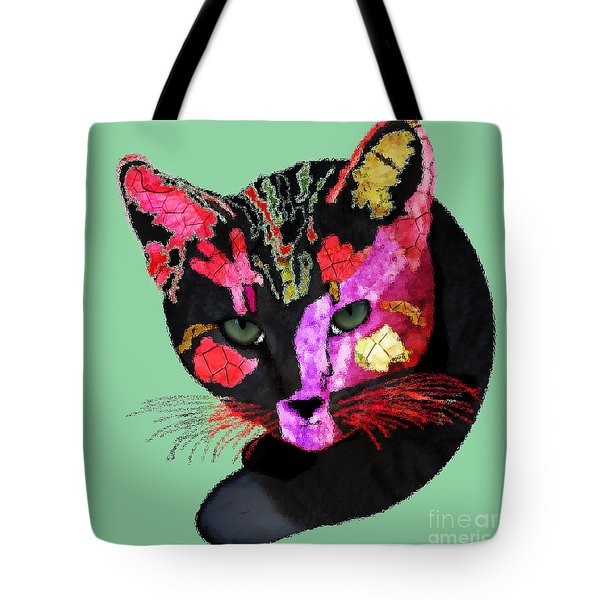 Colorful Cat Abstract Artwork By Claudia Ellis Tote Bag by Claudia Ellis