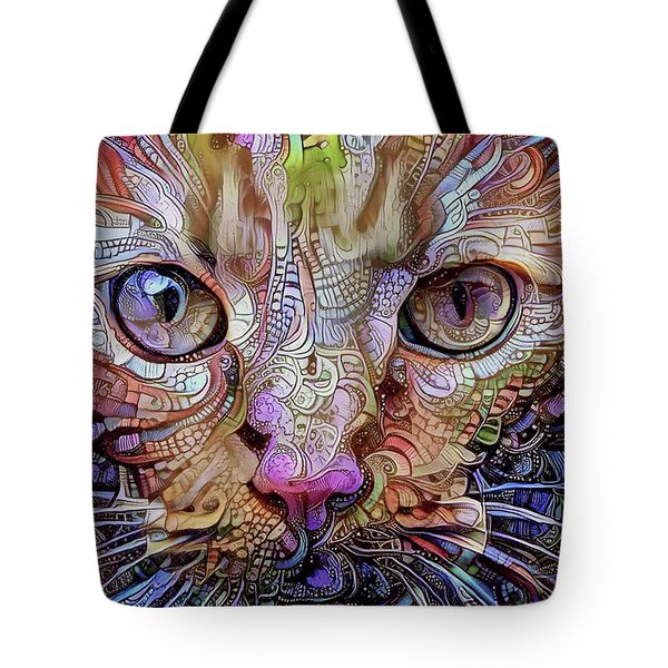 Colorful Cat Art Tote Bag by Peggy Collins