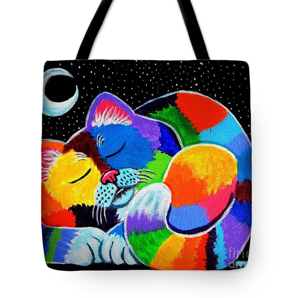 Colorful Cat In The Moonlight Tote Bag