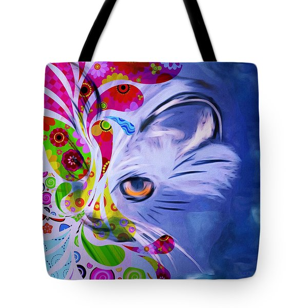 Tote Bag featuring the mixed media Colorful Cat World by Gabriella Weninger - David