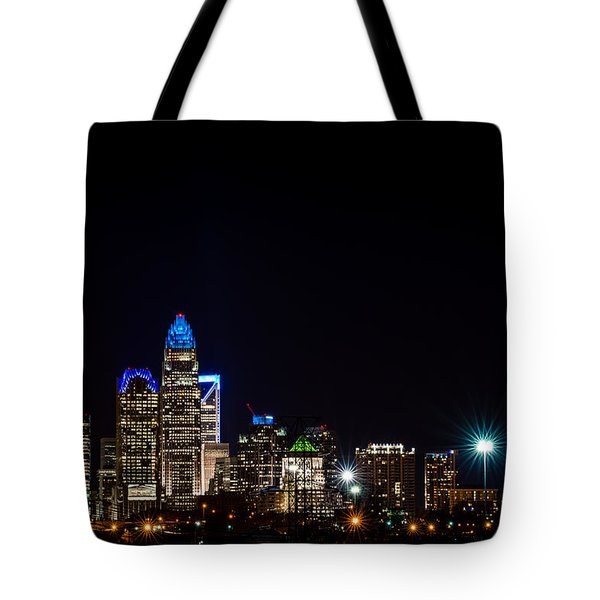 Tote Bag featuring the photograph Colorful Charlotte, North Carolina Skyline by Serge Skiba
