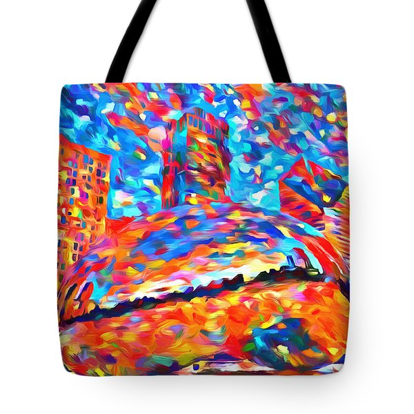 Tote Bag featuring the painting Colorful Chicago Bean by Dan Sproul