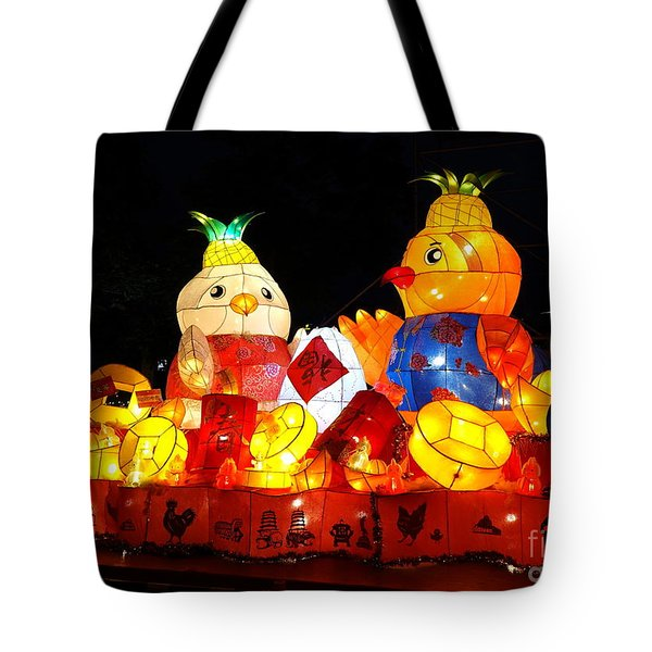 Tote Bag featuring the photograph Colorful Chinese Lanterns In The Shape Of Chickens by Yali Shi