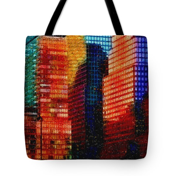 Tote Bag featuring the digital art Colorful City Abstract Mosaic by Shelli Fitzpatrick