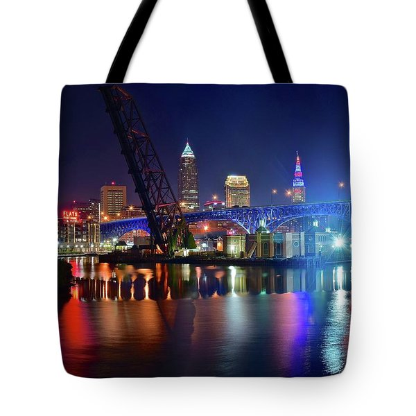 Tote Bag featuring the photograph Colorful Cleveland Lights Shimmer Bright by Frozen in Time Fine Art Photography