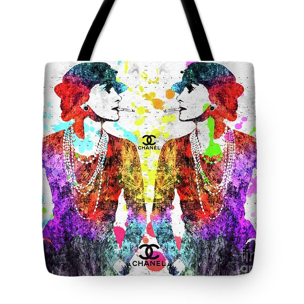 Colorful Coco Chanel Grunge  Tote Bag