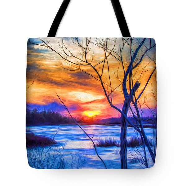 Colorful Cold Sunset Tote Bag
