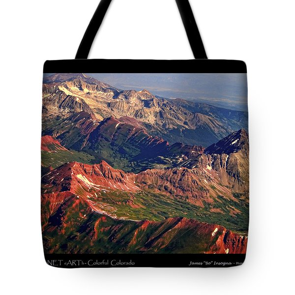 Colorful Colorado Rocky Mountains Planet Art Poster  Tote Bag by James BO  Insogna