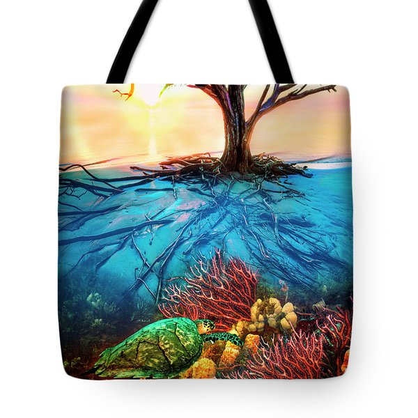 Tote Bag featuring the photograph Colorful Coral Seas by Debra and Dave Vanderlaan