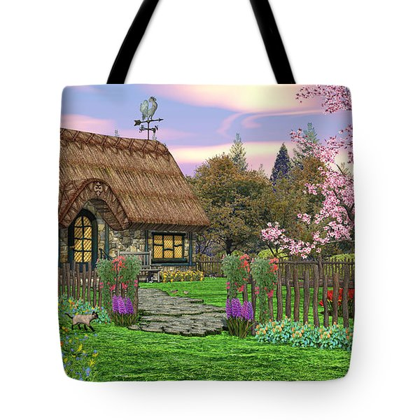Colorful Country Cottage Tote Bag by Walter Colvin