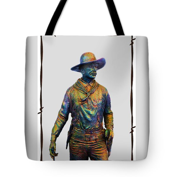 Tote Bag featuring the photograph Colorful Cowboy Sculpture by Ellen O'Reilly