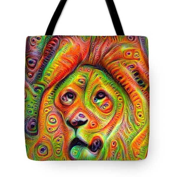 Colorful Crazy Lion Deep Dream Tote Bag