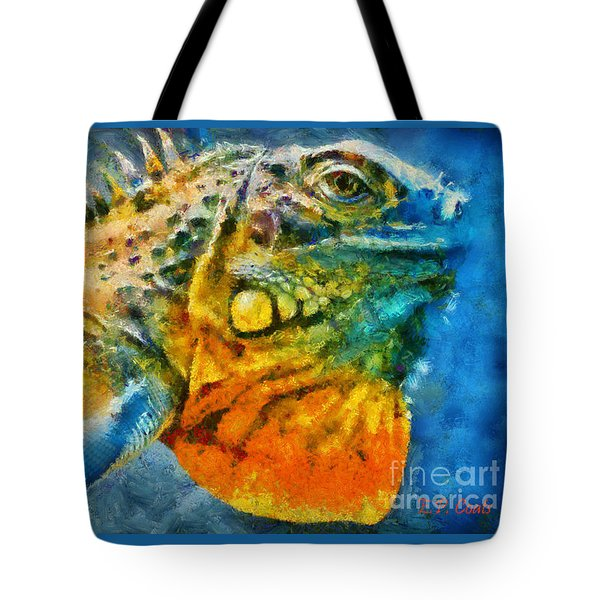Tote Bag featuring the painting Colorful Creature  by Elizabeth Coats