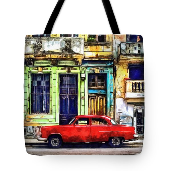 Tote Bag featuring the painting Colorful Cuba by Edward Fielding